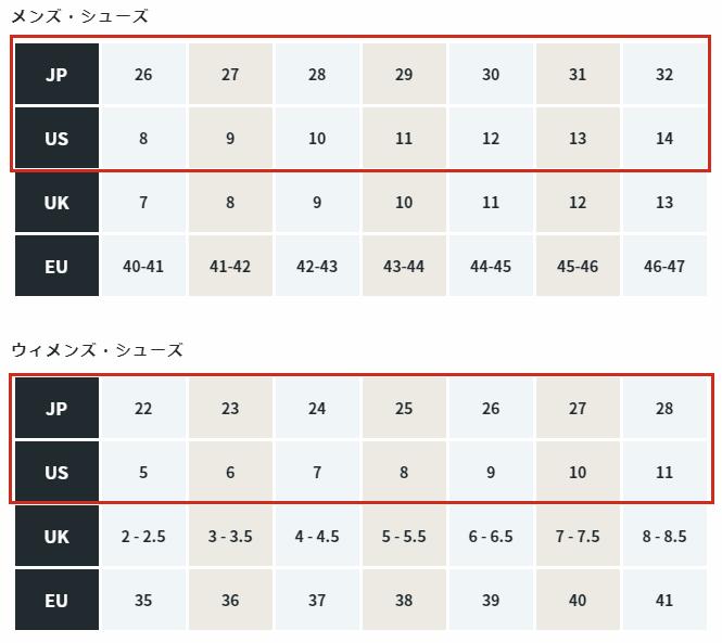 オールバーズのサイズ表